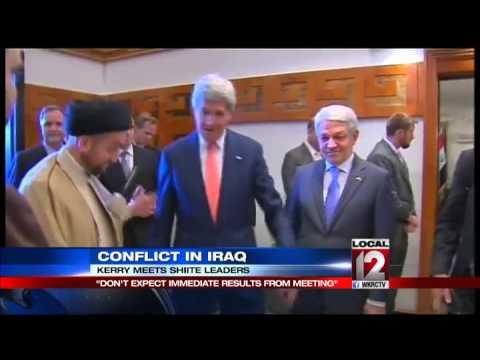 Secretary of State John Kerry arrives in Baghdad