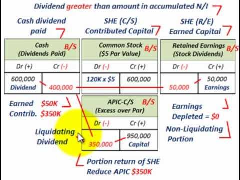 Non liquidating dividends distributions