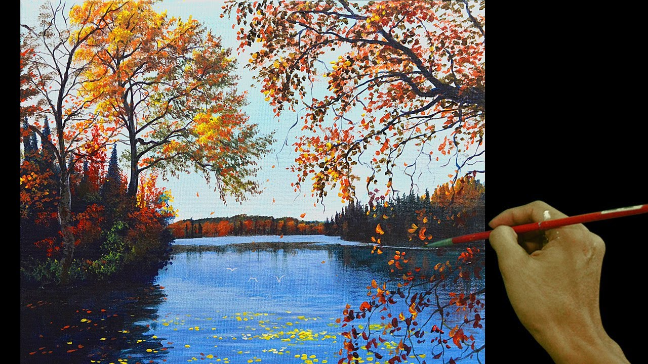 Acrylic Landscape Painting in Time-lapse / Autumn in the River / JMLisondra
