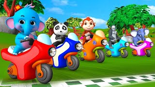 Funny Forest Animals with Baby Elephant Monster Bike Race Competition Animal Comedy Videos Cartoons