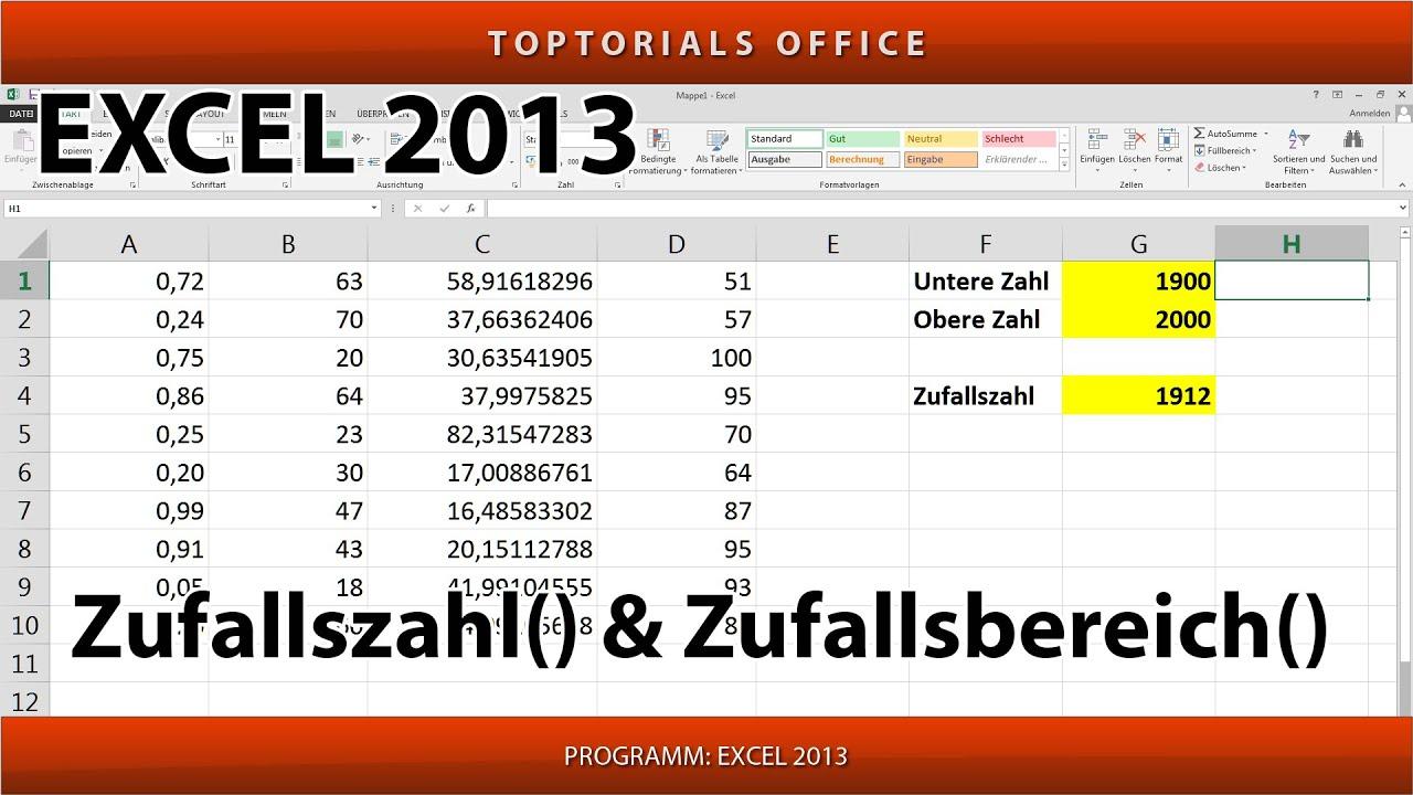 Zufallszahl Excel