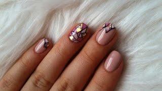 Paznokcie hybrydowe mozaika + glass nails (Hybrid nails)