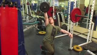 Лечь-встать с гантелей 42кг. Попытка на 47кг. 42kg dumbbell one arm get down/get up. 47kg attempt.