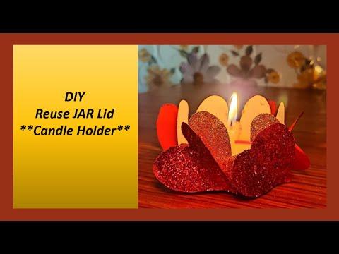 diy-|-reuse-jar-lid-|-candle-holder-craft