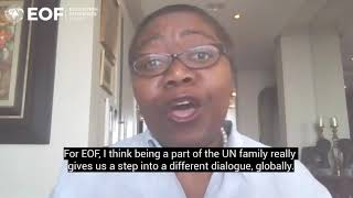 Dolika Banda discuss EOF's new hosting arrangement at UNICEF
