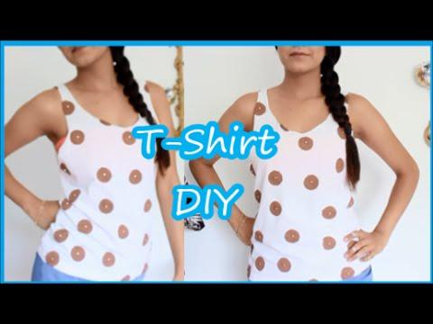 DIY: Revamp T-Shirt into polka Dot Print