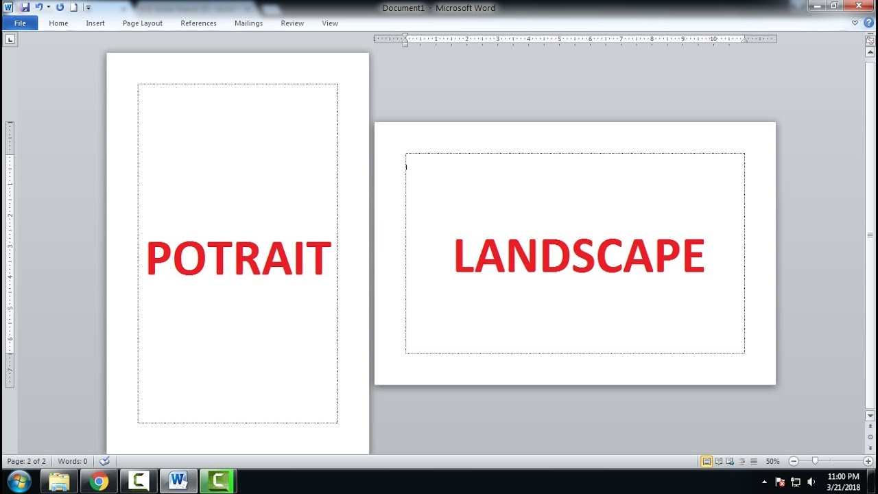 Cara Membuat Halaman Potrait Dan Landscape Dalam Satu Lembar Kerja Di Word Youtube