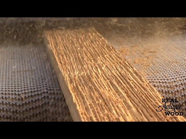 Real Antique Wood Using Brush Sander with Steel Wire Brush on Douglas Fir Creating Grain Texture