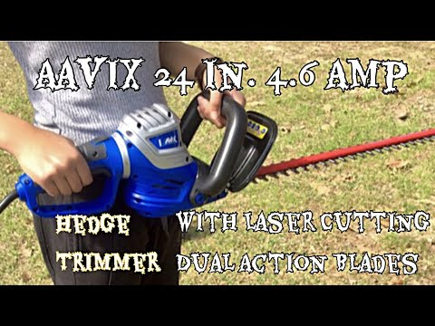Aavix 24 Inch 4 6 Amp Hedge Trimmer Laser Cutting Dual Action Blades