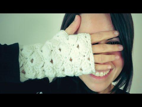 Guantes SIN DEDOS a Crochet (mitones) de ABANICOS - YouTube