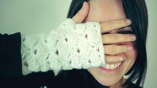Repeat youtube video Guantes SIN DEDOS a Crochet (mitones) de ABANICOS