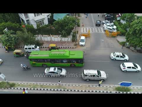 Delhi traffic aerial view: Nehru Place roads and office buildings