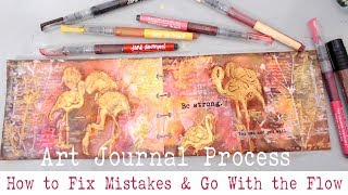 BEGINNERS ART JOURNAL PROCESS- How Start An Art Journal  Page? And Fix Mistakes In Mixed Media