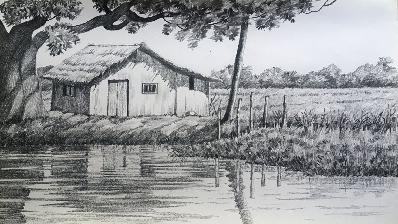 Landscape drawing in pencil village scenery easy