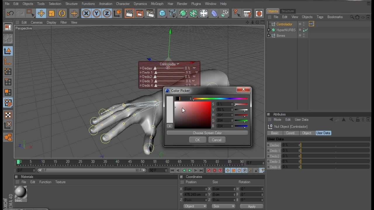 Tutorial Cinema 4d (PT) - HUD e Configurar Bones Com Xpresso Editor