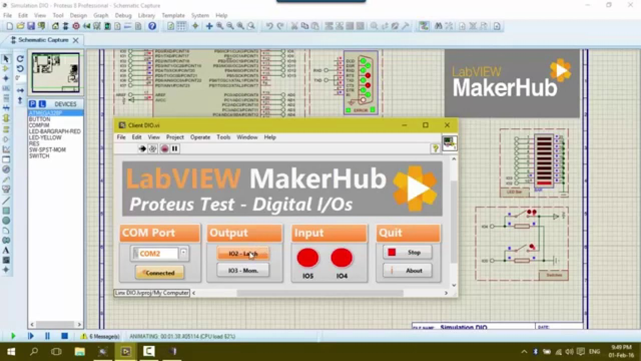 LabVIEW Linx MakerHub with Proteus Simulation and Arduino UNO