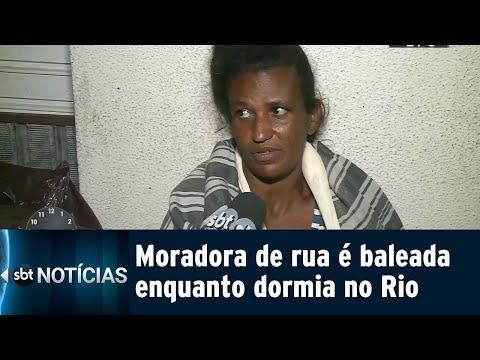 Moradora de rua é baleada durante tiroteio em frente a banco no Rio | SBT Notícias (14/09/18)