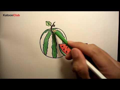 แตงโม สอนวาดรูปการ์ตูนน่ารักง่ายๆ ระบายสี How to Draw Watermelon Cartoon Easy Step by Step