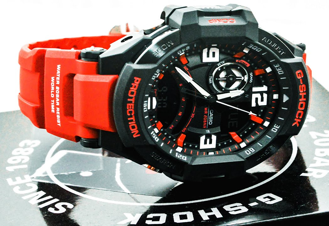 7005d09c9 Casio GSHOCK G-Aviation GA1000-4B REVIEW | How To Set Time | LIGHT DISPLAY  - YouTube