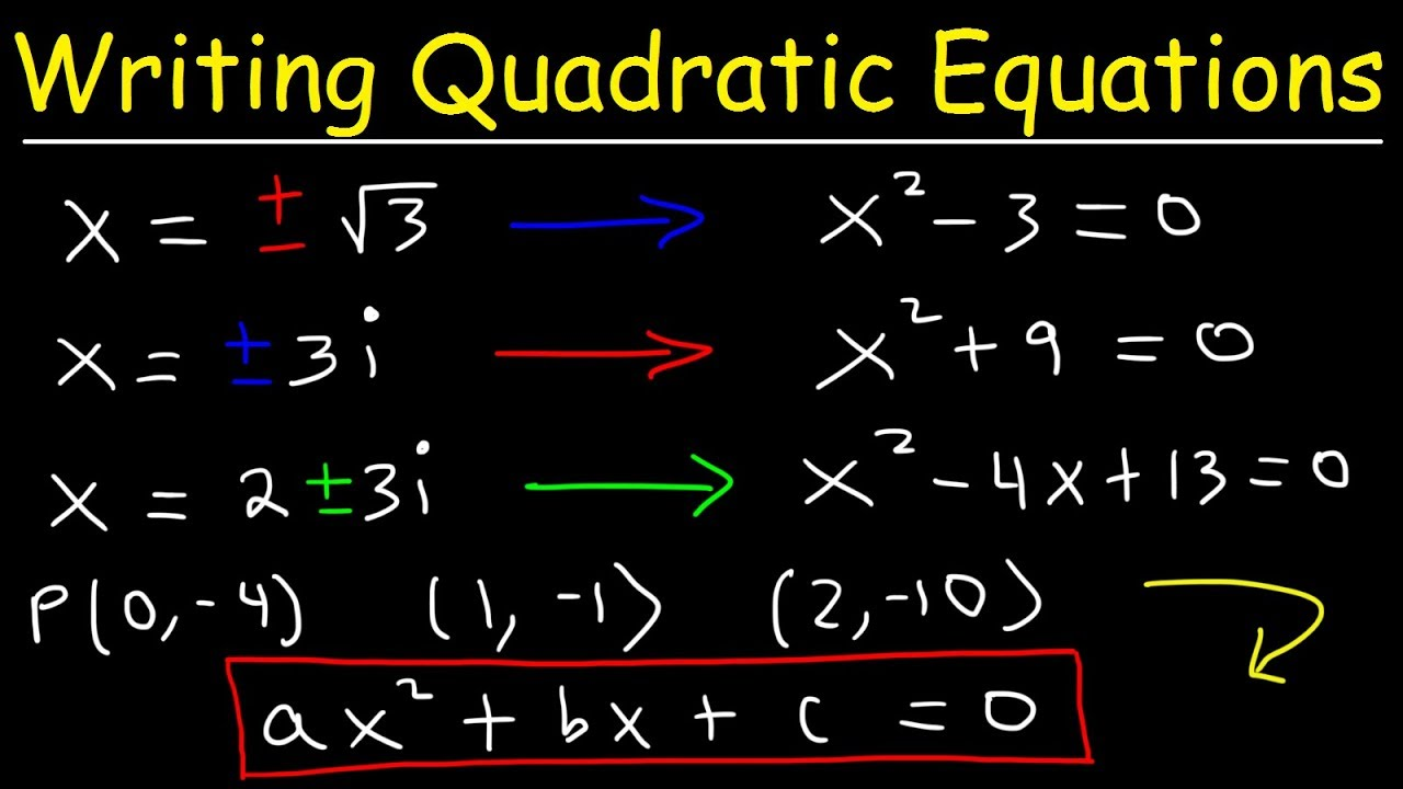 hight resolution of Writing Quadratic Equations In Standard Form Given The Solution - YouTube