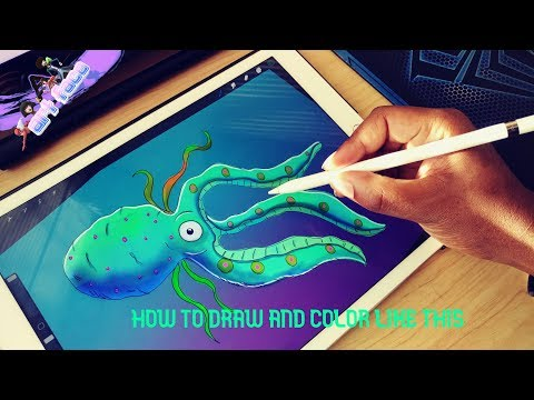 HOW TO DRAW AND COLOR LIKE THIS IN PROCREATE 4 ON IPAD PRO SEA LIFE DRAWING