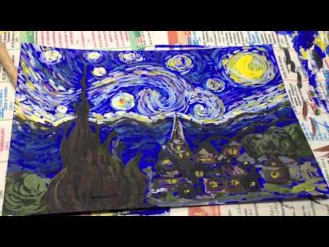 Мастер-класс рисования картины Ван Гога Звездная ночь