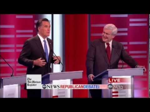 Mitt Romney Meets His Match with Formidable Debater Newt Gingrich (ABC News Republican Debate)