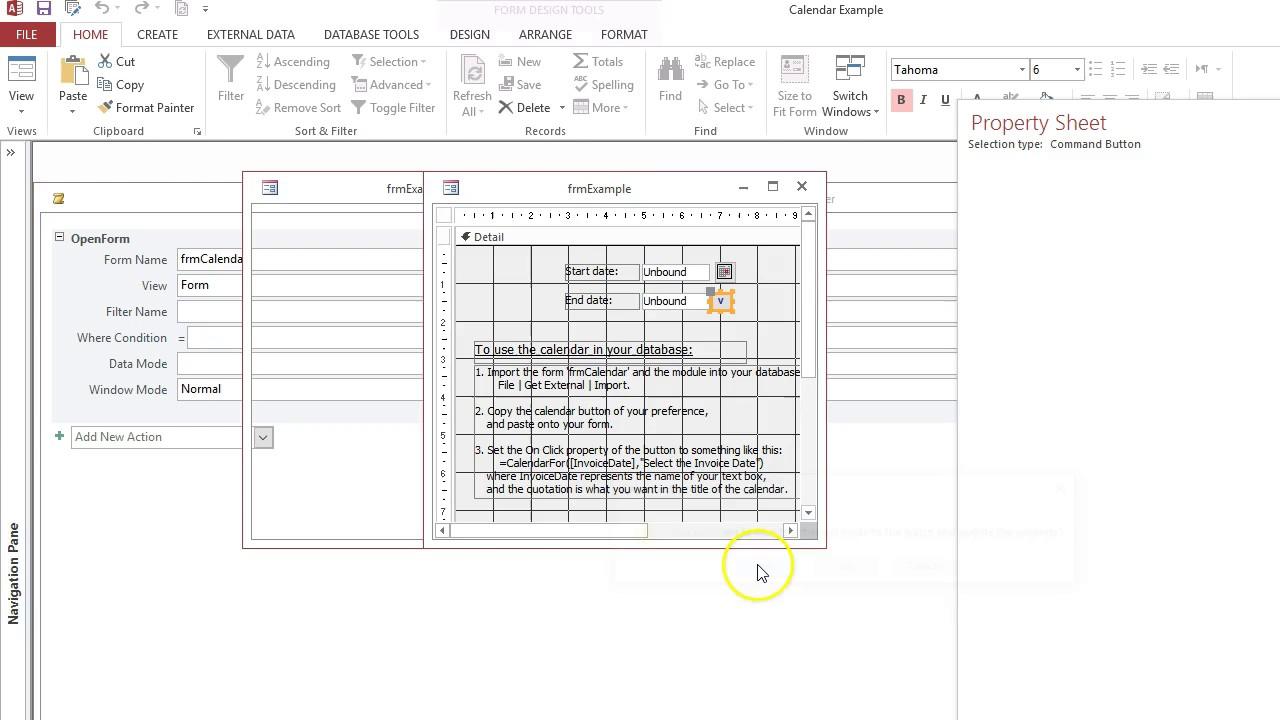 2) - OOP's Beginner - Allen Browne Popup Calendar Form - Nifty Access