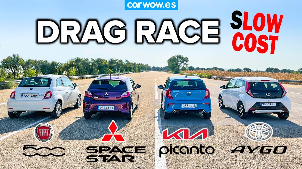 LOW COST: FIAT 500 vs TOYOTA AYGO vs MITSU SPACE STAR vs KIA PICANTO DRAG RACE