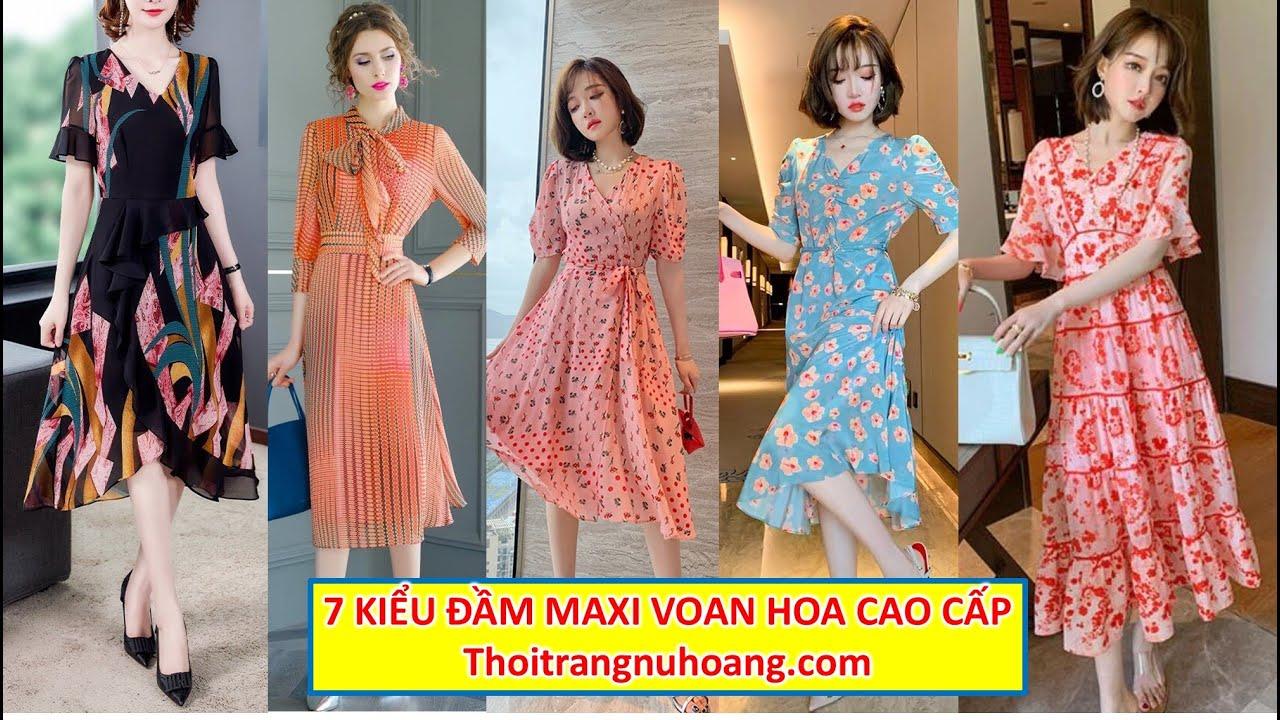 7 Đầm Maxi Đi Biển cực đẹp | Đầm Voan cao cấp họa tiết hoa nhí dự tiệc, du lịch biển sang trọng