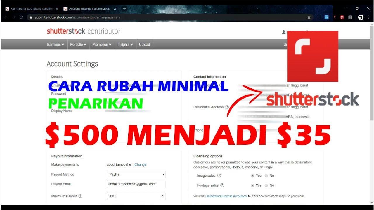Cara Seting Minimum Payout Di Shutterstock Terbaru Youtube