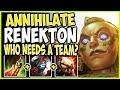 WHO NEEDS A TEAM? TOTALLY ANNIHILATE RENEKTON TOP LANE! TOP Illaoi vs Renekton Season 9 Gameplay