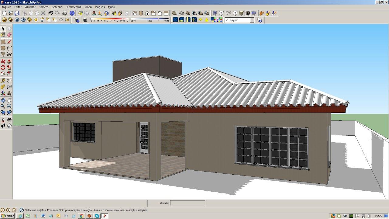 Sketchup modelo casa t rrea v deo anterior pt 2 youtube for Modelos cielorrasos para casas
