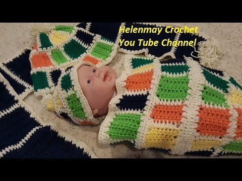 Mommy and Me Colorful Crochet Baby Cocoon with Matching Winter Hats ...