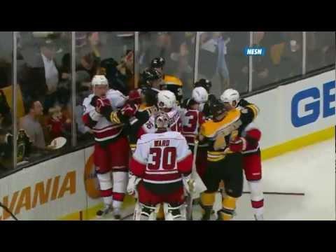 NHL Face-Off: Bruins vs Hurricanes Scrum - Chara fights Harrison and Rask vs Ward - NESN