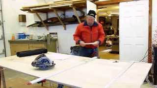 Cutting a 4 x 8 sheet of plywood using a Bora edge guide