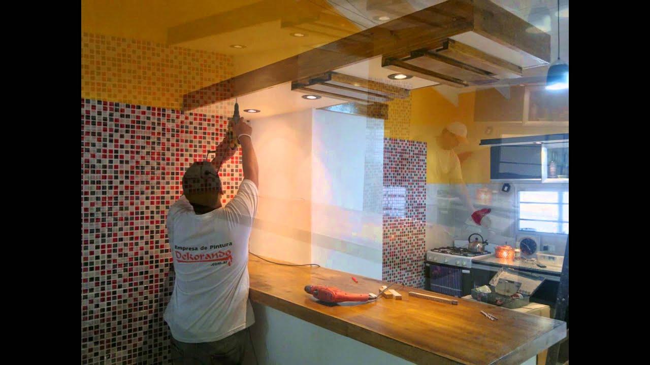 Creación de nueva cocina; Durlock, venecitas, pintura, y mobiliario ...