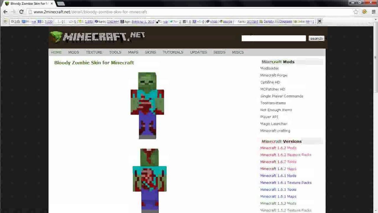 Bloody Zombie Skin for Minecraft - YouTube