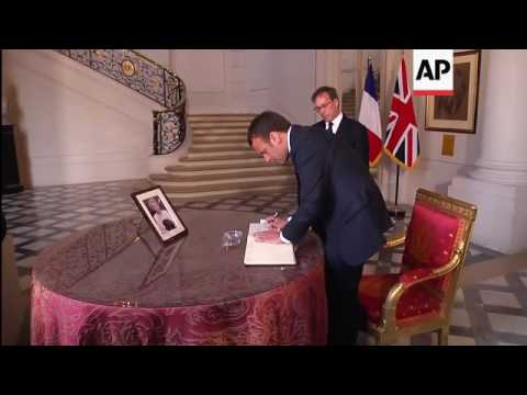 French president visits UK embassy in Paris