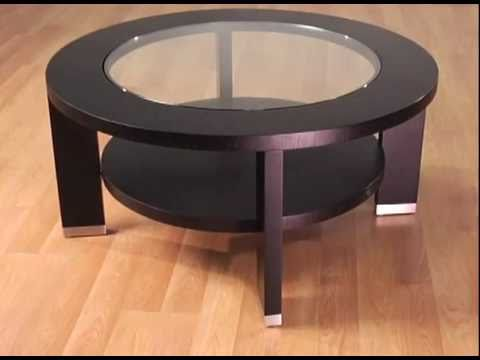 Alta 40 inch round glass coffee table by armen living for 40 inch round coffee table