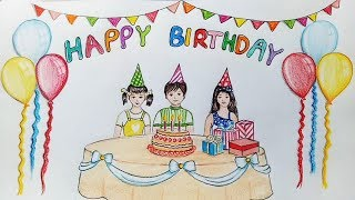 How to draw scenery of birthday party step by step