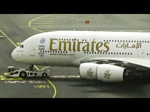 Emirates Airbus A380 long pushback at Dubai International Airport