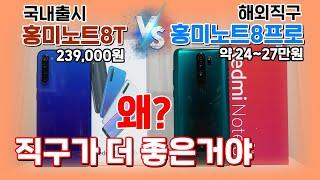 국내출시 홍미노트8T vs 해외직구 홍미노트8프로, 샤오미마저 한국은 호구?