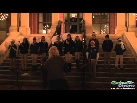 Clarksville Academy Choir sings on the Montgomery County Court House steps