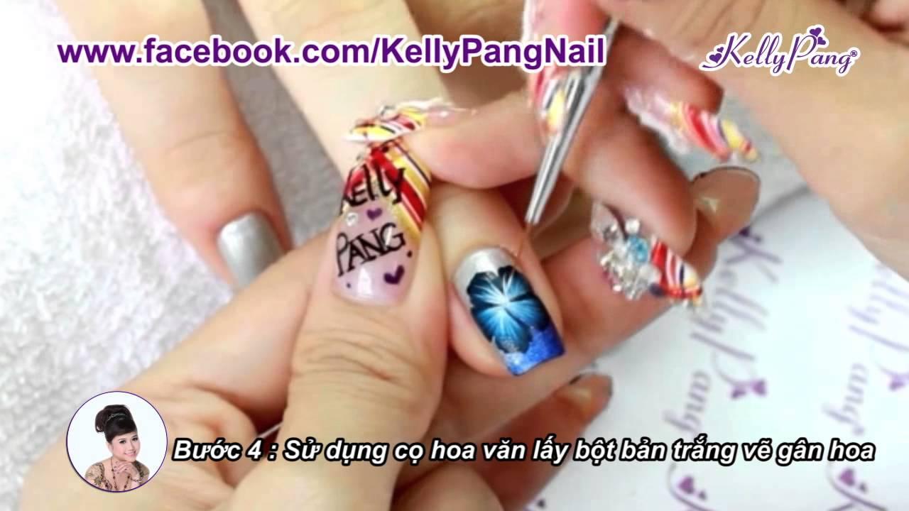 Học nail - Vẽ cọ bản Hoa sắc biển xanh   KellyPang Nail - YouTube