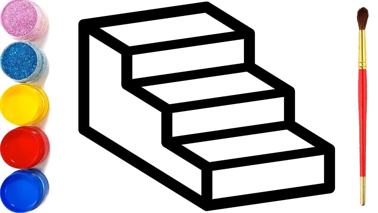 Vẽ cầu thang 3D đơn giản và tô màu cho bé | Dạy bé vẽ | Dạy bé tô màu | Mewarnai Tangga