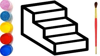 Gambar cover Vẽ cầu thang 3D đơn giản và tô màu cho bé | Dạy bé vẽ | Dạy bé tô màu | Mewarnai Tangga