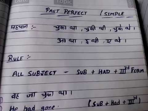 1-Past perfect tense in hindi | simple past perfect tense | learn tenses in  hindi