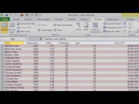 Excel 2010 - Figer et masquer les colonnes