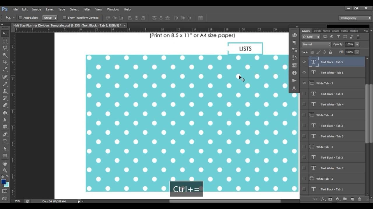 How to make planner dividers using a Printable Photoshop Template (half  page size)